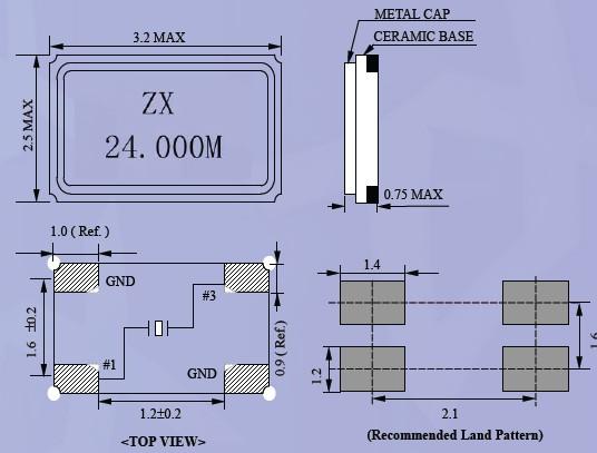 贴片晶振,ZX-3225晶体,石英晶振,小型贴片石英晶振,薄型表面贴片型晶体谐振器,特别适用于有小型化要求的市场领域,比如智能手机,无线蓝牙,平板电脑等电子数码产品.晶振本身超小型,薄型,重量轻,晶体具有优良的耐环境特性,如耐热性,耐冲击性,在办公自动化,家电相关电器领域及Bluetooth,Wireless LAN等短距离无线通信领域可发挥优良的电气特性,满足无铅焊接的回流温度曲线要求.