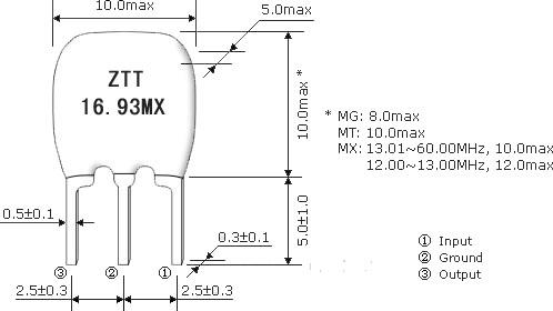 ztt三脚陶瓷晶振,陶瓷谐振器
